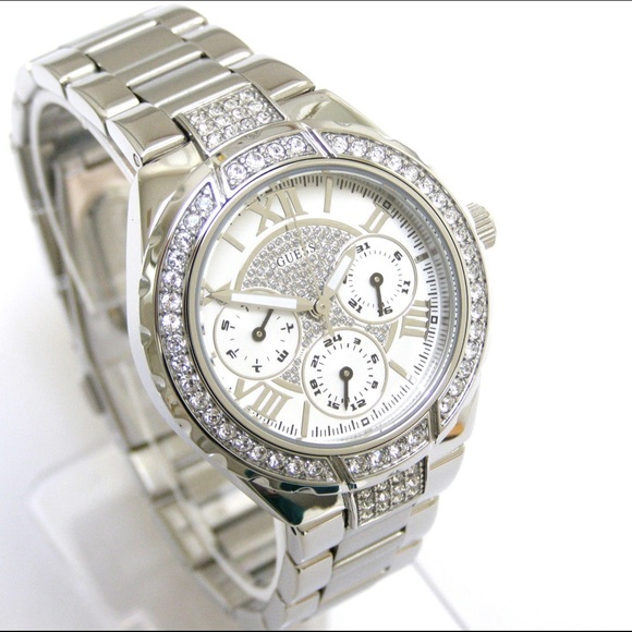 Sliver guess watch with sparky face